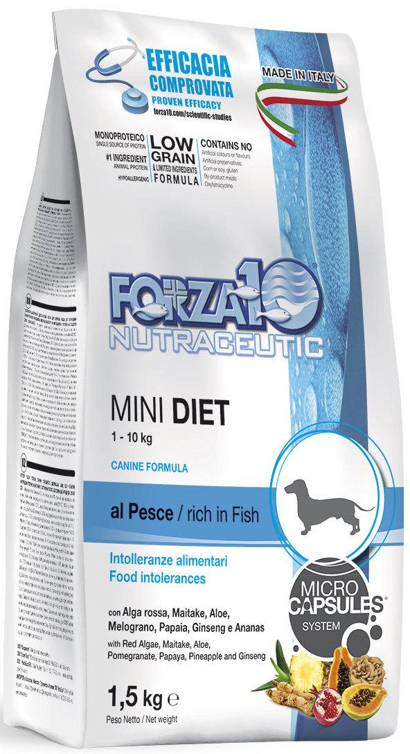 Корм сухой Forza10  Diet  для взрослых собак мелких пород, с морской рыбой с микрокапсулами, 1,5 кг