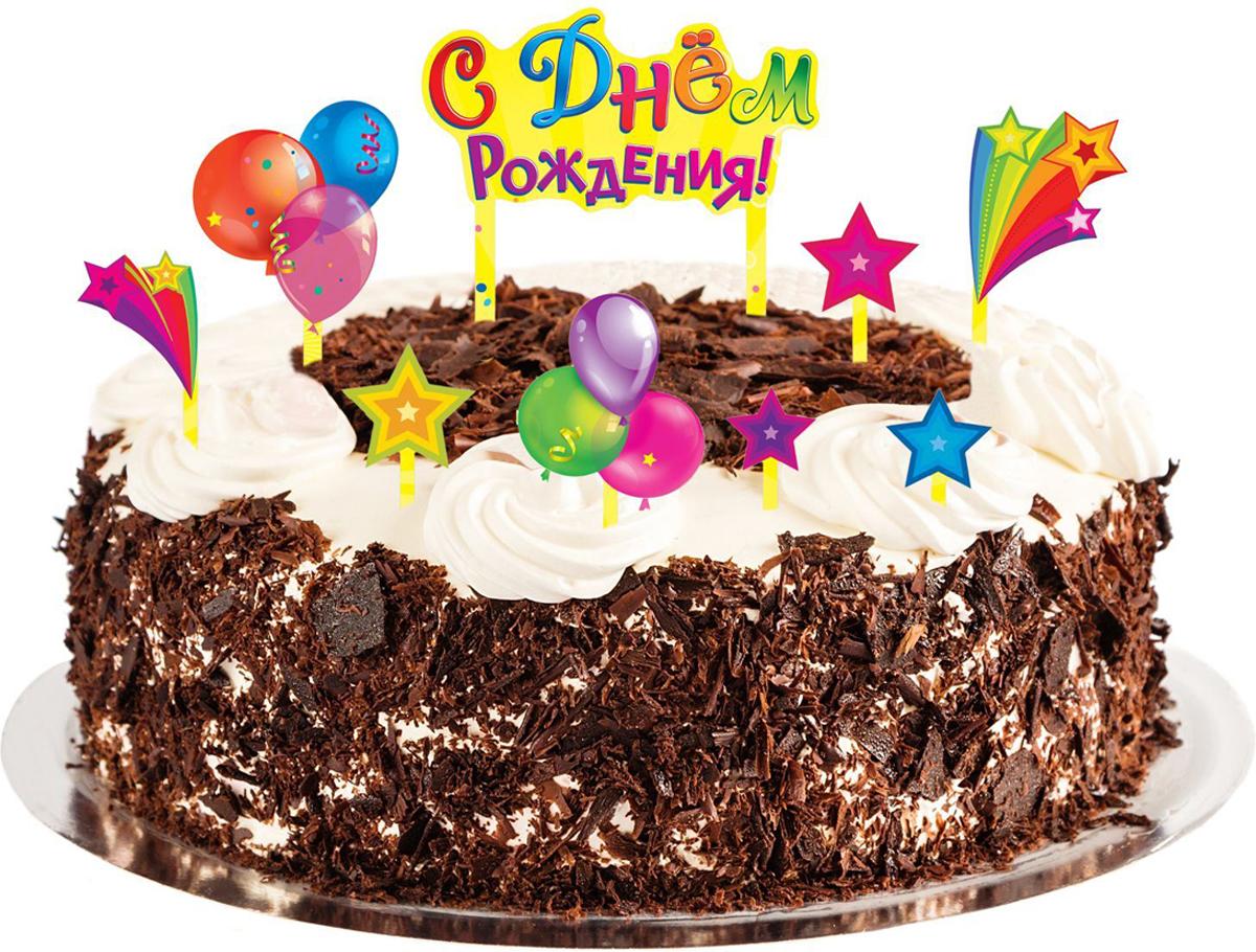 Страна Карнавалия Набор для украшения торта С днем рождения Шарики -  Украшения для интерьера