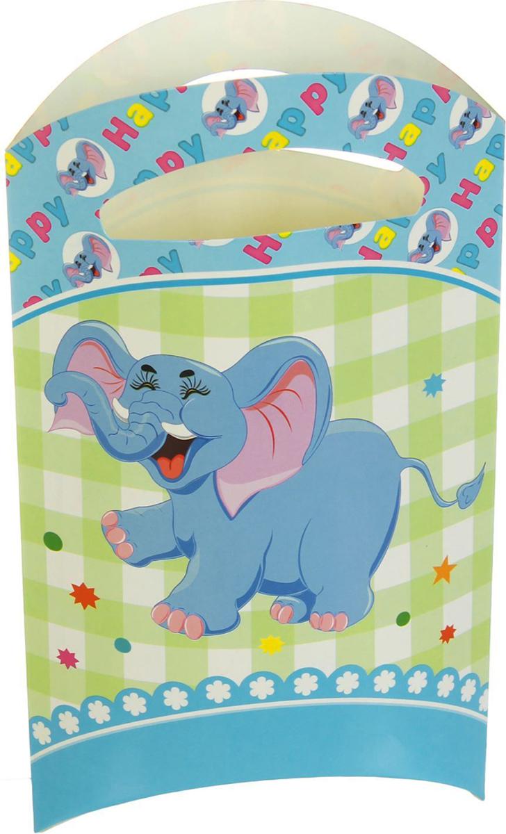 Страна Карнавалия Пакет подарочный Слоник голубой цвет 14 x 24 см 6 шт 1652843 -  Подарочная упаковка