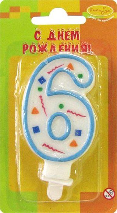 Пати Бум Свеча для торта Цифра 6 Конфетти цвет голубой -  Свечи для торта