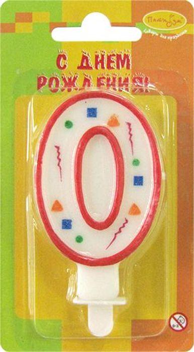 Пати Бум Свеча для торта Цифра 0 Конфетти цвет красный -  Свечи для торта
