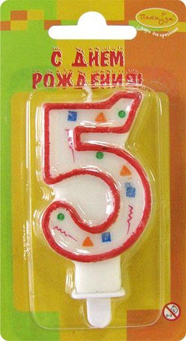 Пати Бум Свеча для торта Цифра 5 Конфетти цвет красный -  Свечи для торта