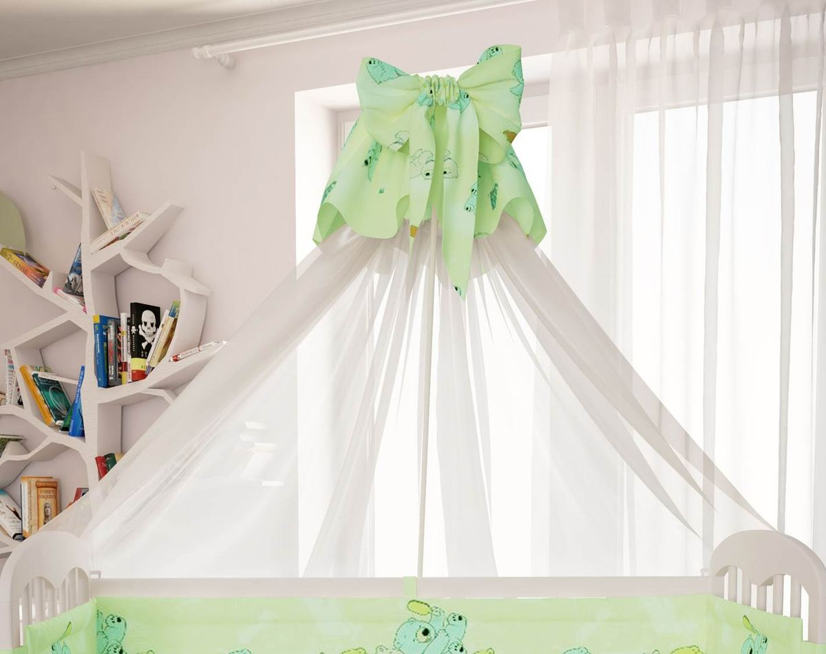Polini Балдахин в кроватку Мишки цвет зеленый -  Бортики, бамперы