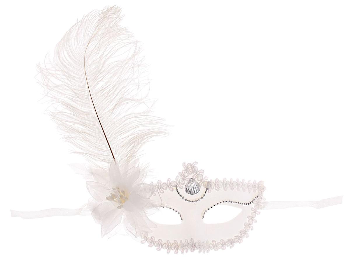 Маска карнавальная Страна Карнавалия  С цветком. Большое перо , цвет: белый, 10 х 18 см -  Маски карнавальные