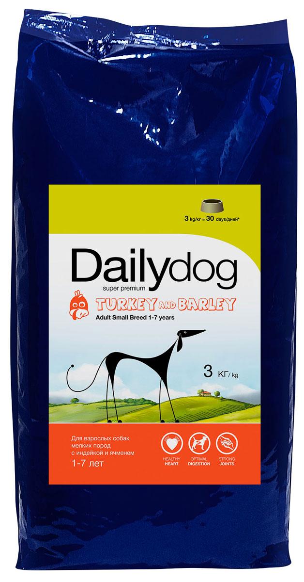 Корм сухой Dailydog  Adult Small Breed Turkey & Barley , для взрослых собак мелких пород, с индейкой и ячменем, 3 кг