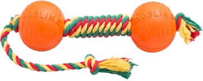 Игрушка для собак Doglike  Канатная гантель , малая, цвет: красный, желтый, зеленый, длина 50 см, диаметр 7 см
