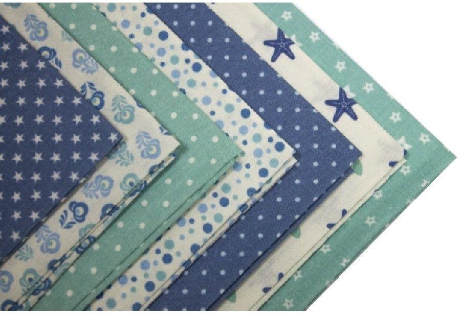 Набор тканей для пэчворка Кустарь  Морской бриз , цвет: белый, зеленый, синий, 48 х 50 см