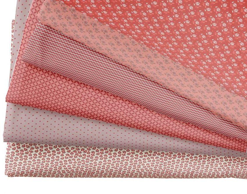 Набор тканей для пэчворка  Кустарь , цвет: красный, розовый, 48 х 50 см