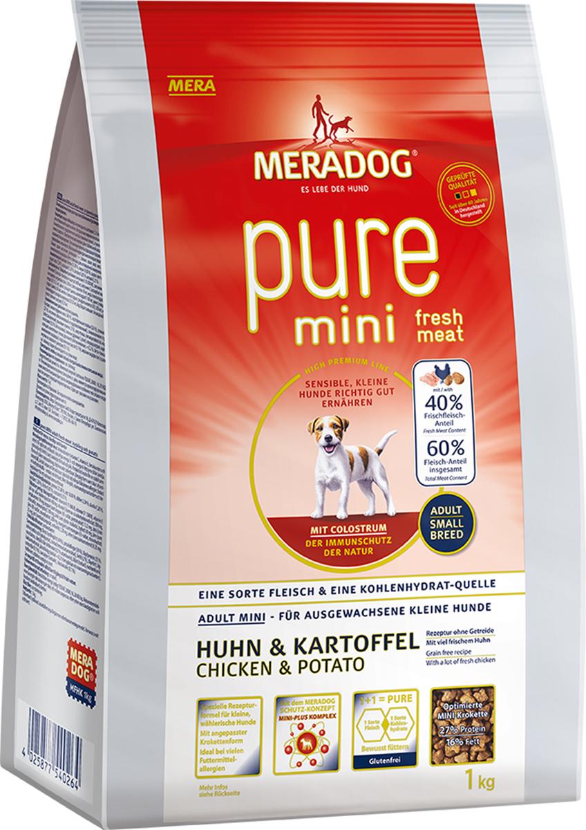 Корм сухой Meradog  Pure Mini. Fresh Meat Huhn & Kartoffel , для собак мелких пород, беззерновой, с курицей и картофелем, 1кг