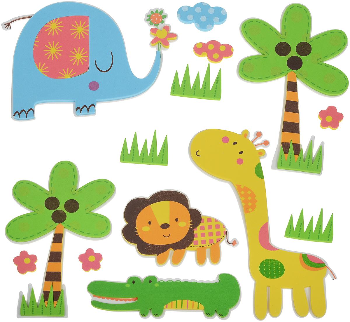 Room Decor Наклейка интерьерная Детские картинки цвет зеленый желтый голубой 14 шт -  Детская комната