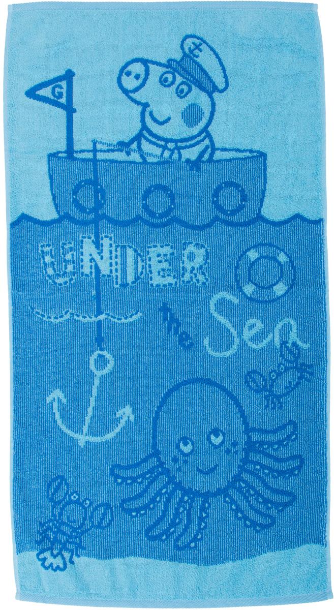 Полотенце махровое Свинка Пеппа Джорд Рыбак , цвет: голубой, 30 x 60 см -  Все для купания