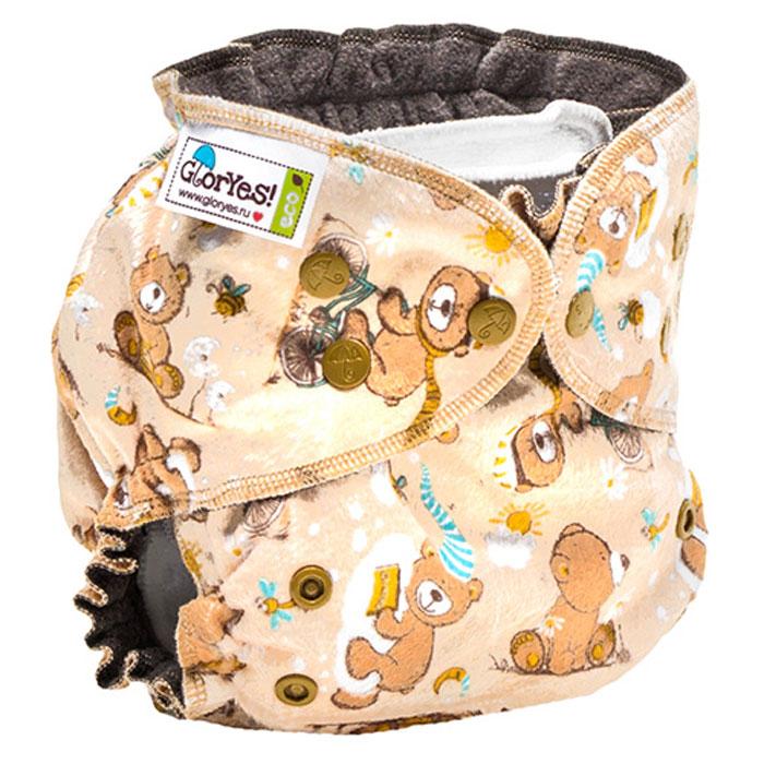 GlorYes! Многоразовый подгузник Optima плюшевый Медвежонок 3-18 кг + два вкладыша -  Подгузники и пеленки