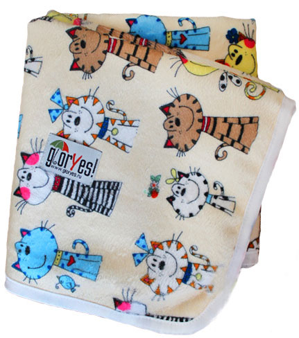 GlorYes! Непромокаемая пеленка Коты на бежевом 80 х 68 см -  Подгузники и пеленки