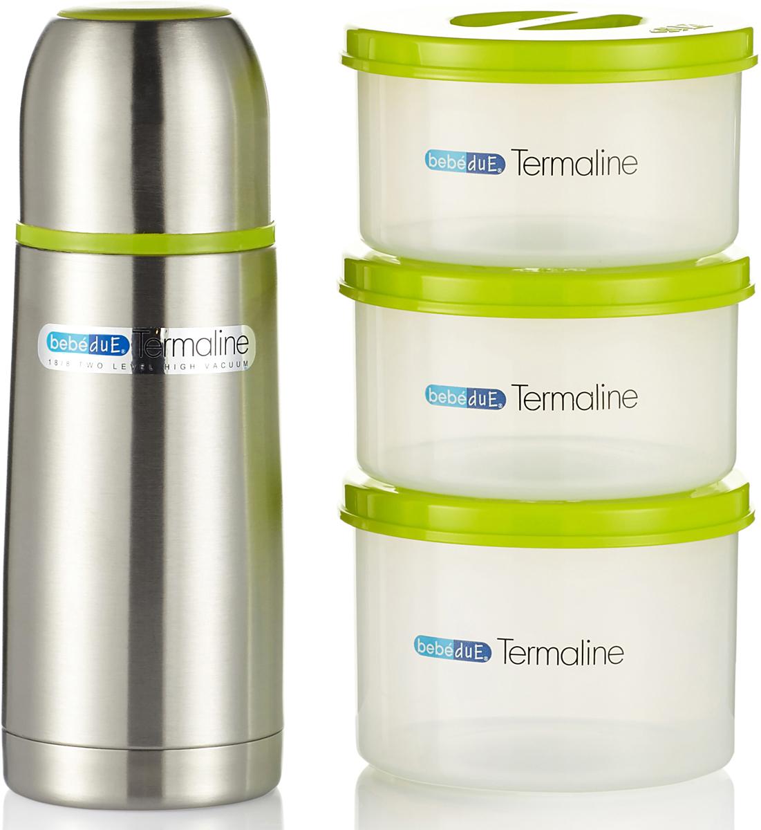 Bebe Due Термосумка черная с набором контейнеров и термосом -  Все для детского кормления