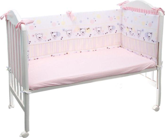 Сонный гномик Бортик для кроватки Конфетти цвет розовый 4 части -  Бортики, бамперы