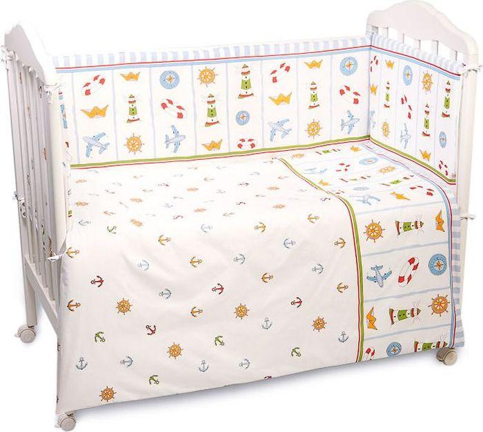 Сонный гномик Бортик для кроватки Маяк цвет голубой 4 части -  Бортики, бамперы