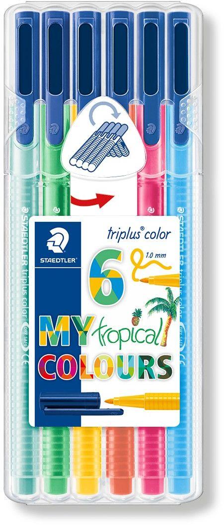Staedtler Набор фломастеров Triplus Color Тропические цвета 6 цветов -  Фломастеры