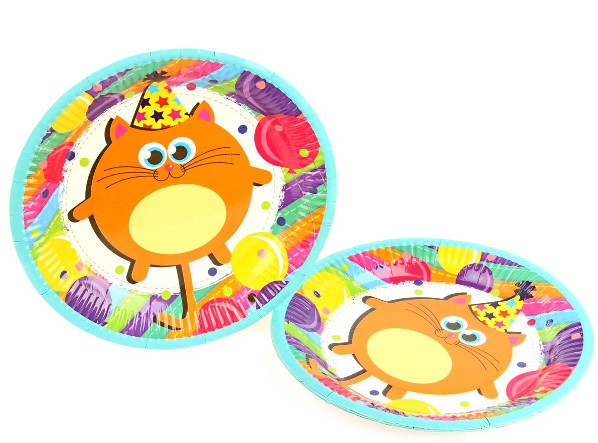 Веселый хоровод Набор тарелок Разноцветные котики 18 см 6 шт -  Сервировка праздничного стола