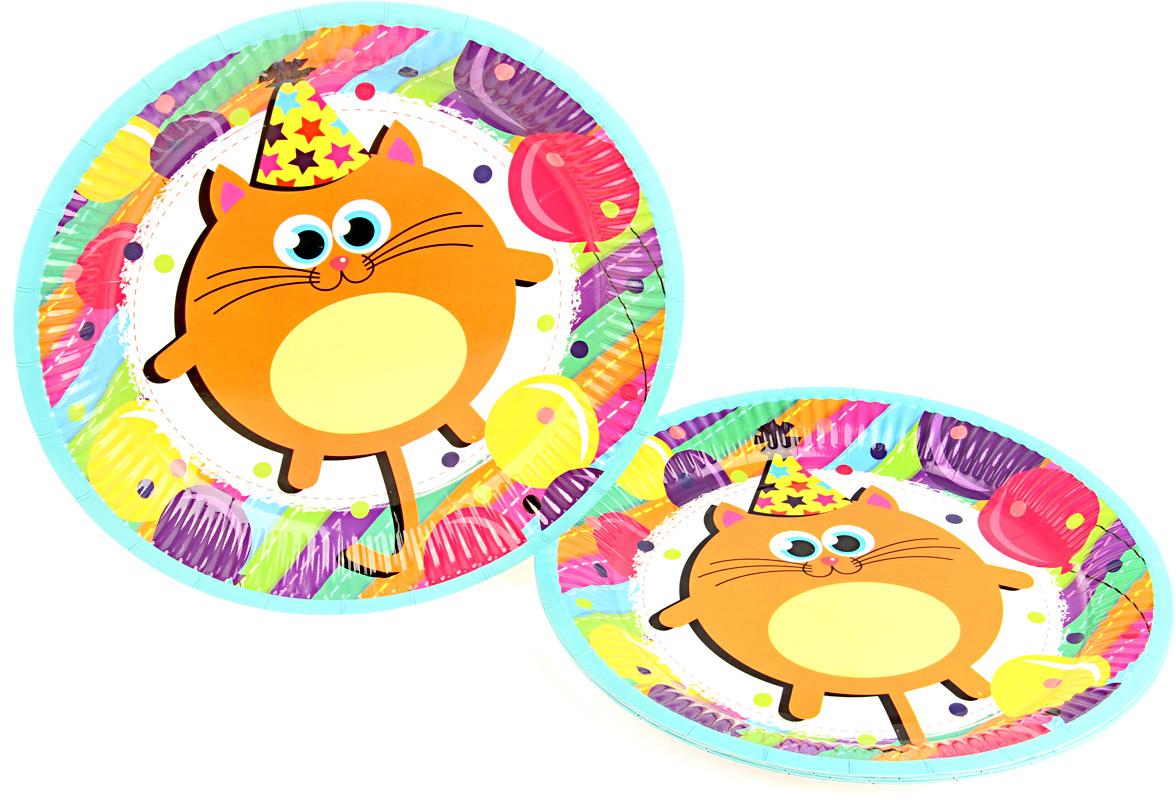 Веселый хоровод Набор тарелок Разноцветные котики 23 см 6 шт -  Сервировка праздничного стола
