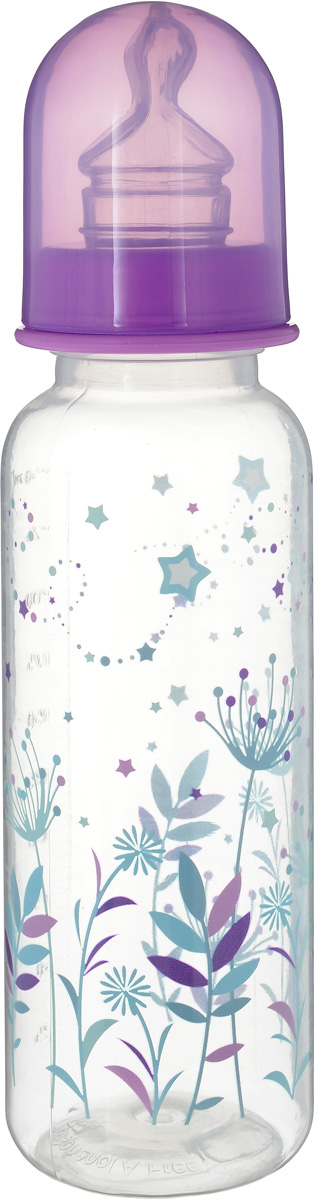 Мир Детства Бутылочка для кормления Травы с силиконовой соской ортодонтической формы Травы 250 мл цвет сиреневый -  Бутылочки