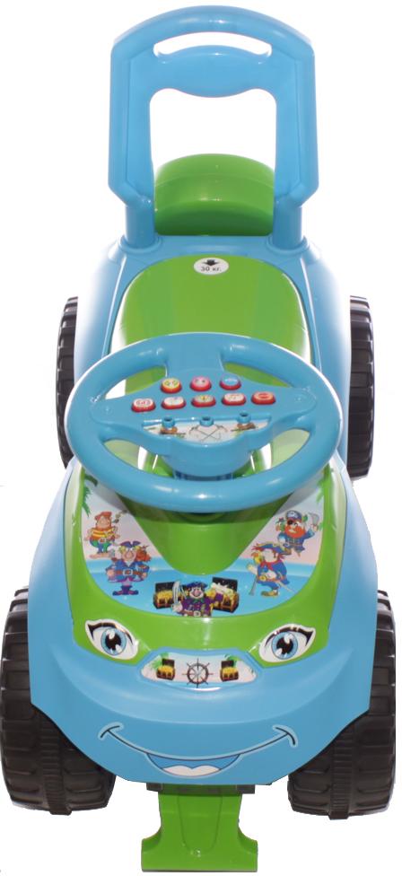 Doloni Машинка-каталка с музыкальным рулем Автошка, цвет голубой зеленый -  Каталки, понициклы