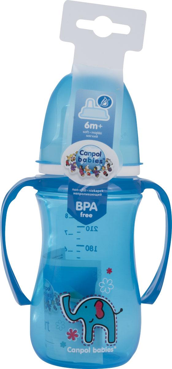 Canpol Поильник-непроливайка Sweet Fun с мягким носиком цвет голубой 240 мл -  Поильники