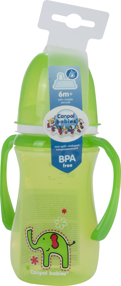 Canpol Поильник-непроливайка Sweet Fun с мягким носиком цвет зеленый 240 мл -  Поильники