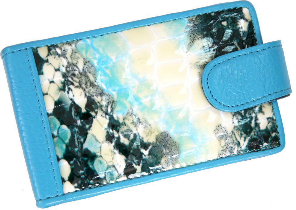 Визитница горизонтальная женская Topo Fortunato, цвет: голубой. 222-101 -  Визитницы