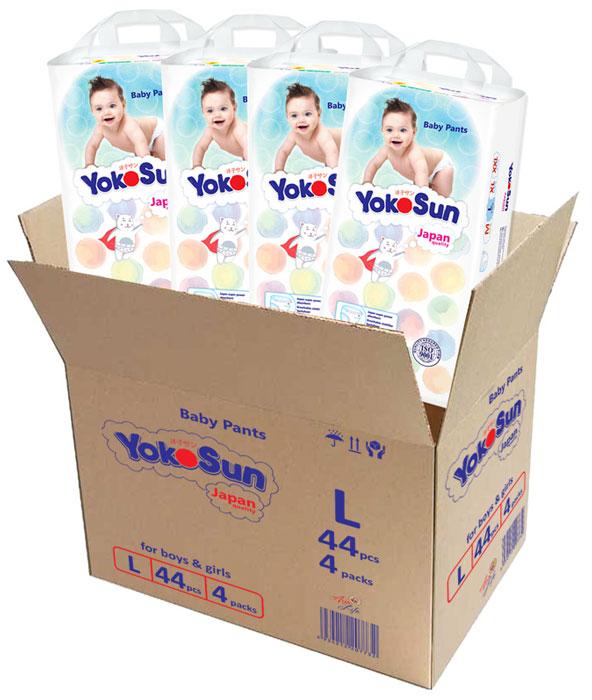 YokoSun Подгузники-трусики L (9-14 кг) 4 х 44 шт -  Подгузники и пеленки