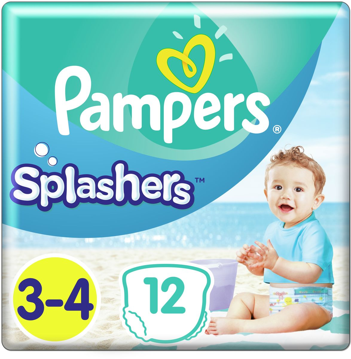 Pampers Трусики для плавания Splashers 6-11 кг (размер 3-4) 12 шт -  Подгузники и пеленки
