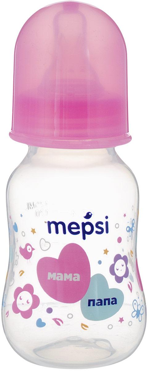 Mepsi Бутылочка для кормления с силиконовой соской от 0 месяцев цвет розовый 125 мл -  Бутылочки