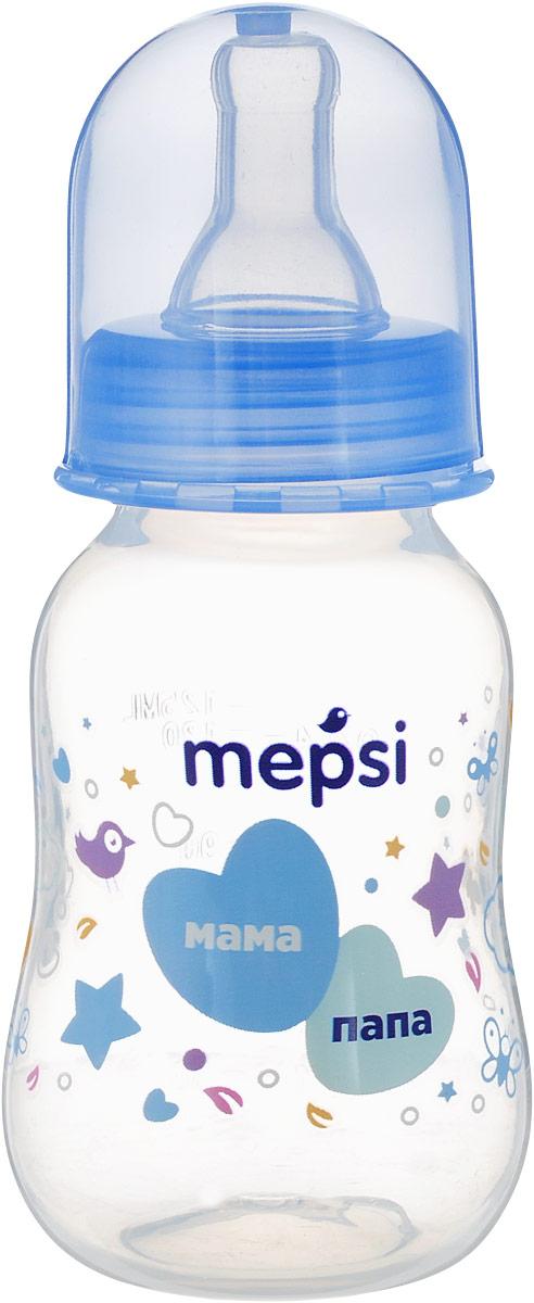 Mepsi Бутылочка для кормления с силиконовой соской от 0 месяцев цвет голубой 125 мл -  Бутылочки
