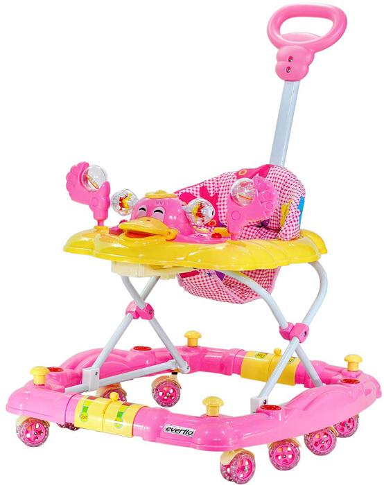 Everflo Ходунки 3в1 Утенок WT413 цвет розовый -  Ходунки, прыгунки, качалки