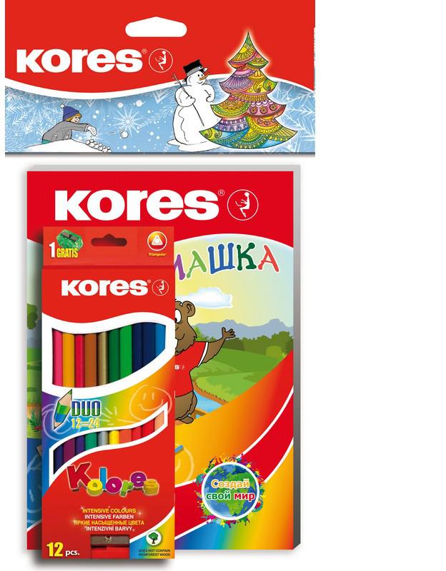 Kores Набор цветных карандашей Занимашка Новогодний набор 24 цвета -  Карандаши