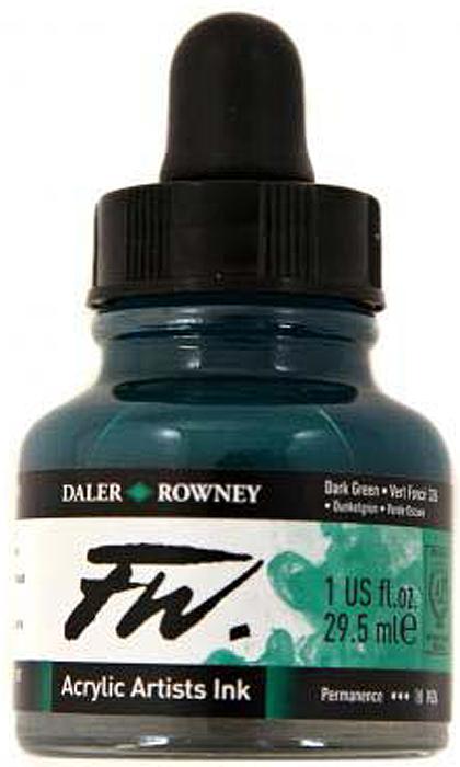 Daler Rowney Чернила акриловые Fw Artists цвет темно-зеленый 29,5 мл -  Чернила и тушь