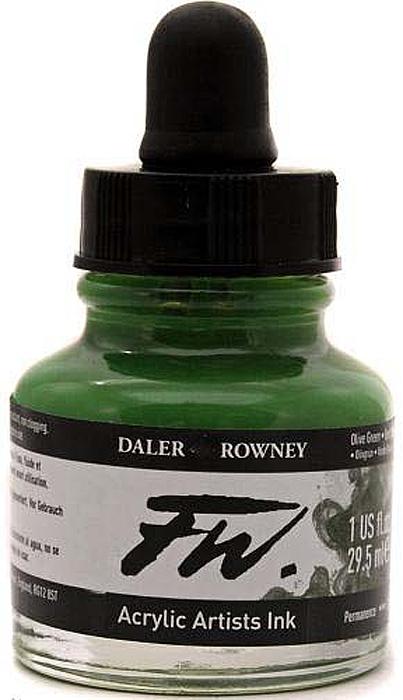 Daler Rowney Чернила акриловые Fw Artists цвет оливковый 29,5 мл -  Чернила и тушь
