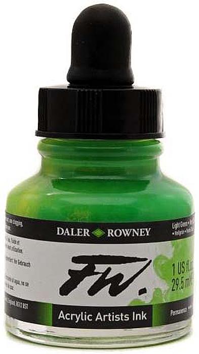 Daler Rowney Чернила акриловые Fw Artists цвет свело-зеленый 29,5 мл -  Чернила и тушь