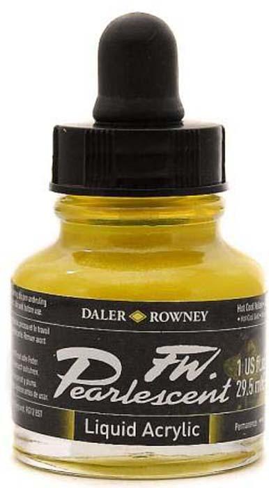 Daler Rowney Чернила перламутровые Fw Artists цвет холодный желтый 29,5 мл -  Чернила и тушь
