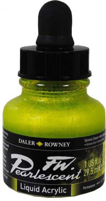 Daler Rowney Чернила перламутровые Fw Artists цвет зеленый 29,5 мл -  Чернила и тушь