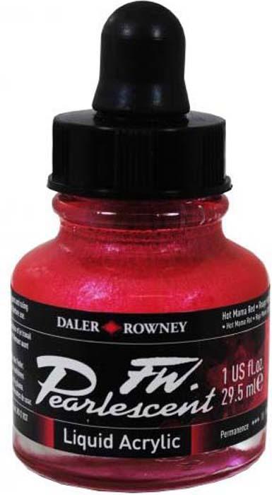 Daler Rowney Чернила перламутровые Fw Artists цвет красный 29,5 мл -  Чернила и тушь