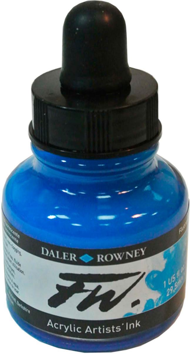Daler Rowney Чернила акриловые Fw Artists цвет флуорисцентный голубой 29,5 мл -  Чернила и тушь