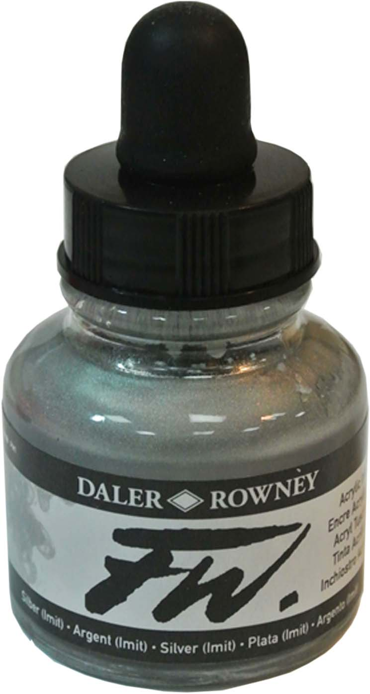 Daler Rowney Чернила акриловые Fw Artists цвет серебряный (имитация), 29,5 мл -  Чернила и тушь