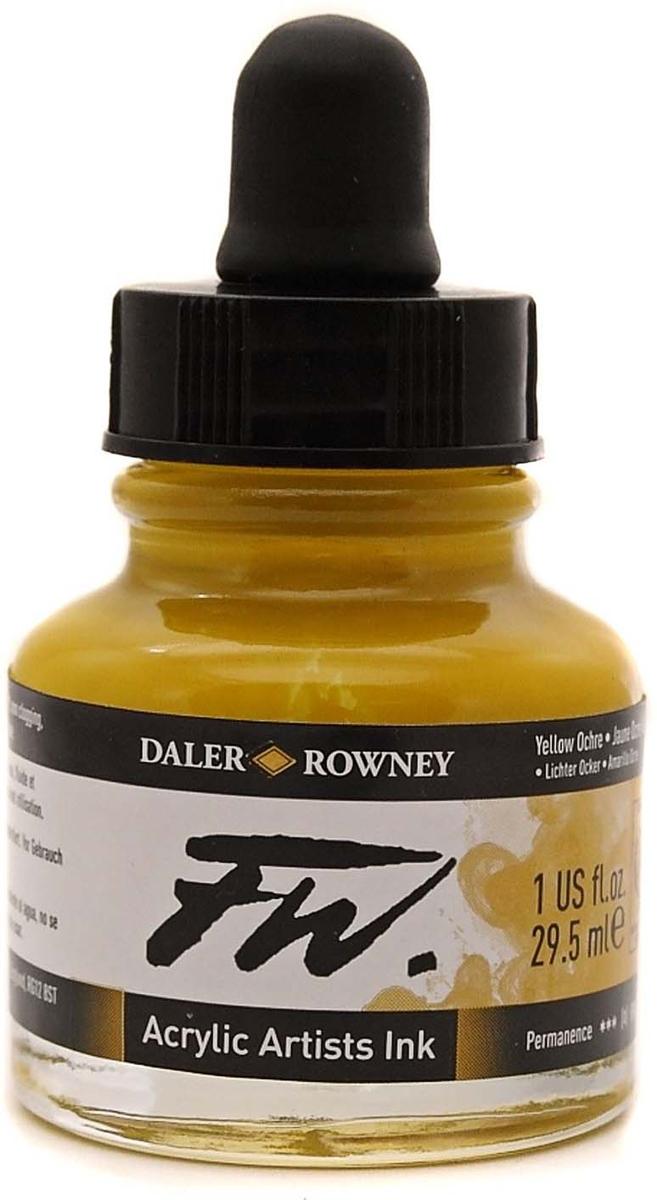 Daler Rowney Чернила акриловые Fw Artists цвет охра желтая 29,5 мл -  Чернила и тушь
