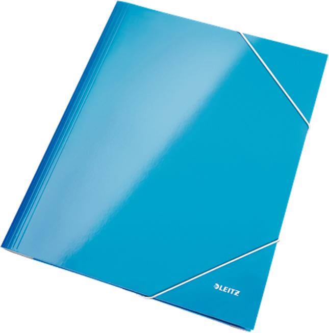 Leitz Папка на резинке WOW ламинированная цвет голубой -  Папки