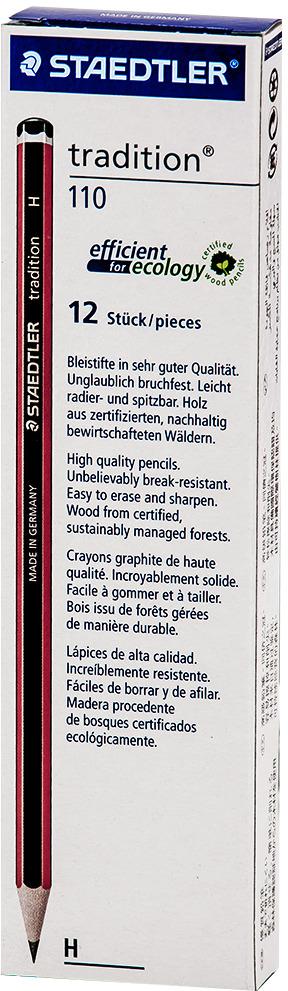 Набор чернографитовых карандашей Staedtler Tradition 110 H, 12 шт -  Карандаши