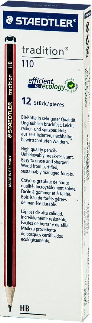 Набор чернографитовых карандашей Staedtler Tradition 110 HB, 12 шт -  Карандаши