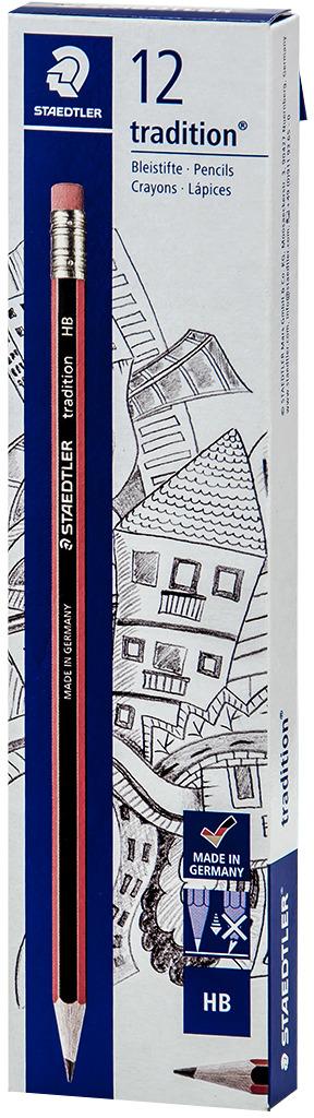 Набор чернографитовых карандашей Staedtler Tradition 112 HB, с ластиком, 12 шт -  Карандаши
