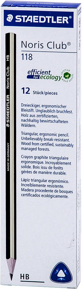 Набор чернографитовых карандашей Staedtler Noris Club НВ, 12 шт -  Карандаши