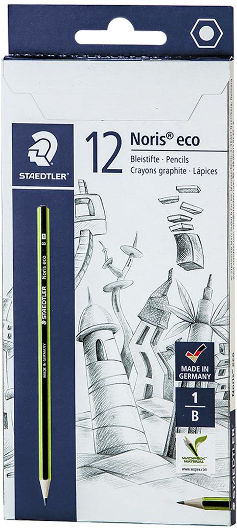 Набор чернографитовых карандашей Staedtler Noris Eco B, 12 шт -  Карандаши