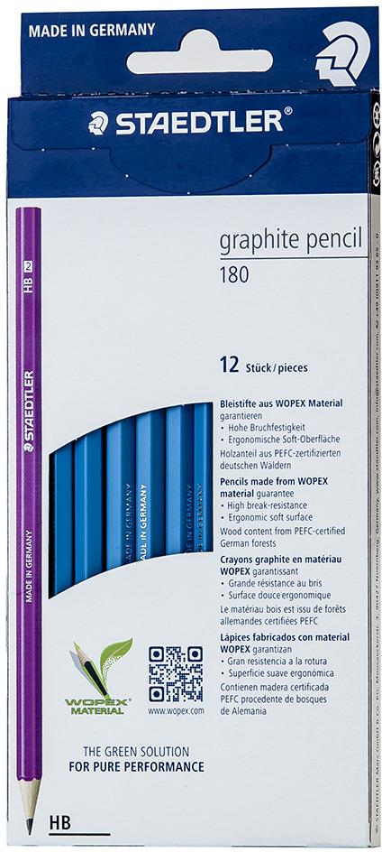 Набор чернографитовых карандашей Staedtler Wopex HB, цвет корпуса: голубой, 12 шт -  Карандаши